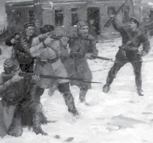 «Красная Гвардия освобождает от калединцев станции Гуково и Зверево, январь 1918 года.»